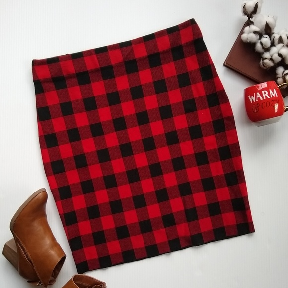 34fce65d7f Chaps Dresses & Skirts - Chaps • red buffalo plaid sweater pencil skirt